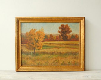 Vintage Landscape Painting, Fall Country Scene Painting, Trees and Mountains Painting