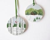 Christmas Ornaments Hand Painted on Wood - Log Cabin  - Birch Tree - Cardinal -  Winter Scene