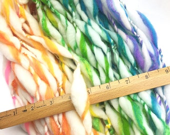 Sparkly rainbow yarn, handspun in super chunky merino wool, silk and gold sparkles - 32 yards, 2 ounces and 59 grams