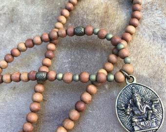 Simple Sandalwood Mala  Mens Ganesha Necklace  Sandalwood Mala  Ganesha Pendant  108 Bead Sandalwood Mala  Earthy  Mala  Mans Mala Necklace