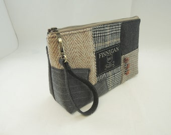 Zipper Pouch Wristlet Womens Purse Clutch Purse Cosmetic bag  Recycled Purse Upcycled Purse Wool Purse Finnigan bags