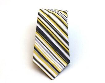 "Men's Tie - Yellow and Grey Stripe - Charcoal and Citron Stripped Necktie - Slim 3"" Width - Necktie & Pocket Square Set"
