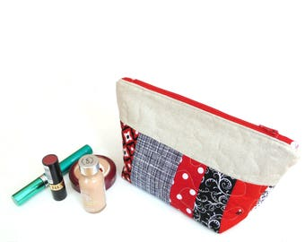 Cosmetic bag, zipper pouch toiletry bag, black red quilted clutch bag, makeup bag, large makeup case, cotton bag