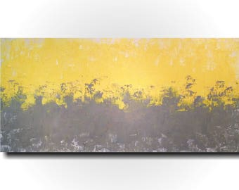 Large gray oil painting  - 24 X 48 Inches-by Artist JMJartstudio- Taken on-Wall art -  Custom Grey painting- Yellow -home decor