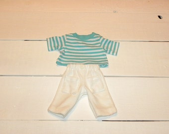 Striped Tshirt and White Velour Pants - 12 inch doll clothes