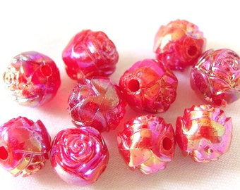 14 Vintage Pink / Red AB Rosebud Beads, 10mm Acrylic Plastic Beads