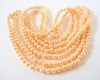 60 Inches Vintage Soft Peach Pearls, 5mm