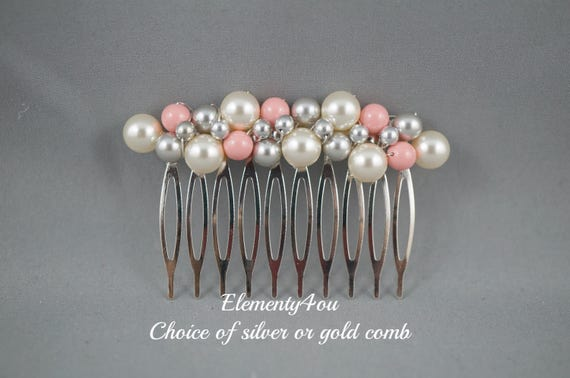 Bridal party hair comb, Coral grey ivory pearl hair piece, Bridal headpiece, Silver gold comb, Bridal headpiece, Pearl cluster comb, formal