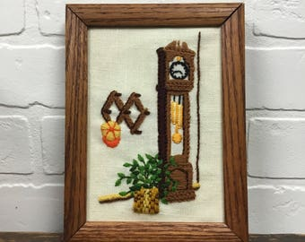 Vintage Handmade Crewel Embroidery Framed Picture