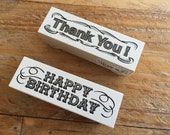 "Pretty Japanese Letterpress Style Stamp - ""Thank You"" & ""Happy Birthday"" for invitation, gift cards, tags, holiday packing"