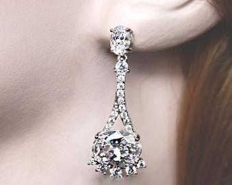 Silver Bridal Earrings Wedding Cubic Zirconia CZ Bridal Jewelry Rhodium plated Crystal Wedding Earrings - Lily Earrings