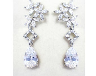 Bridal Earrings, Crystal Bridal Earrings, Floral bridal earrings, Bridesmaid jewelry -Natalie  Earrings