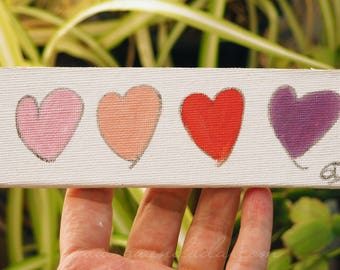 Hearts 2 x 6 inch original oil painting on canvas board pink, peach, red, purple heart art