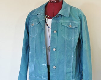 """Teal Green Large Cotton JACKET - Blue Green Dyed Upcycled Faded Glory Cotton Trucker Jacket - Adult Womens Size 10/12 Large (44"""" chest)"""