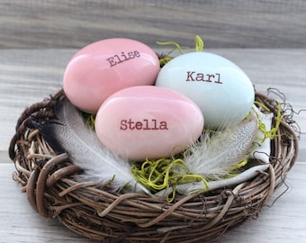 1-3 custom text eggs, Personalized eggs, customized quote, custom writing, custom bird eggs, nest centerpiece, gift for moms