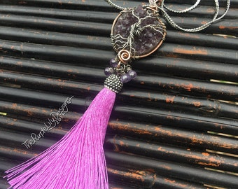 Ready to Ship, Amethyst of Life necklace, Copper, Silver, Amethyst crystals, CZ's, and Silk tassel, ThePurpleLilyDesigns
