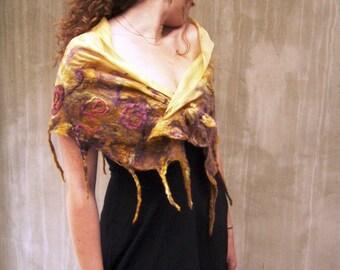 Mustard felt luxury silk fringes feminine scarf gift for women