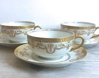 Limoges France Teacups And Saucers Set Of Three White With Gold Filigree Trim