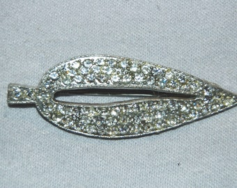 Antique Victorian Brooch, Large Rhinestone Brooch, C Clasp Clear, Vintage old jewelry