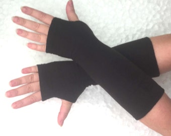 Black  fleece fingerless   gloves