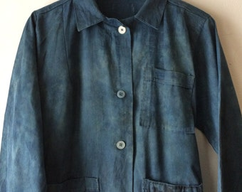 Hand Dyed Work Coat in Indigo and Iron w/ Pocket Patch Vintage Cotton Aged Distressed