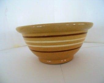 Antique Stoneware Yellow Ware Bowl , Brown & Cream Rings