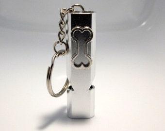 Dog Whistle Keychain, Bone Charm Necklace, Slim Silver Key Chain, Self Defense Jewelry, Dog Caller, Pet Training Accessory,