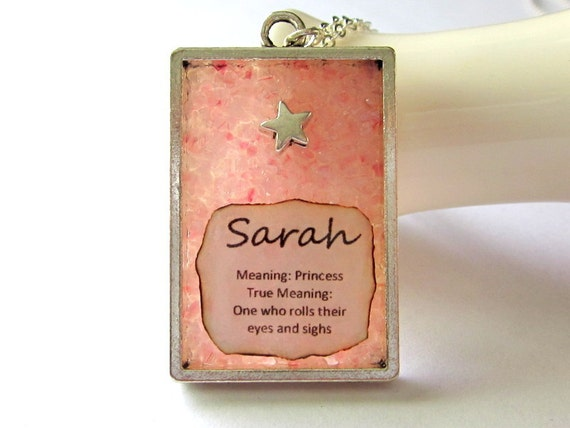 Custom Name and Meaning Jewelry, Personalized Sarah Necklace, Pink Stained Glass Pendant, Girls Gift Ages 8 to 11, October Birthstone Color