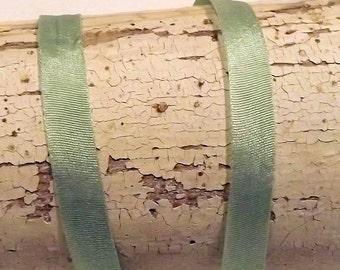 Silk Mint Green Silk Ribbon 1/4 inch 2 yards 100% silk
