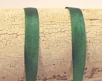 Silk Green Ribbon 1/4 inch wide 2 yards 100% silk