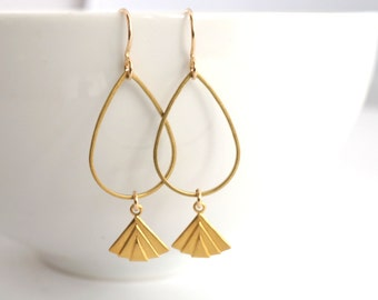 Gold Dangle Earrings, Gold Charm Earrings, Gold Fan Earrings, Teardrop Earrings, Gold Drop Earrings
