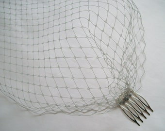 Pewter Grey Vintage Russian Veiling Birdcage Bandeau Wedding Bridal Brides Veil - Comb Attachment- Made to Order
