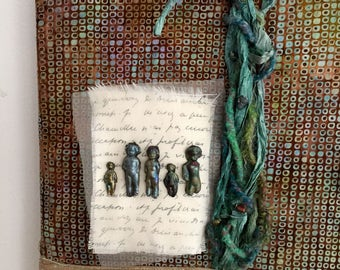 Mixed Media Wall Hanging, Fiber Art Wall Hanging, Mixed Media Art, Raku Figures, Handspun Art Yarn, Silk Ribbon Wall Hanging, Teal Earthtone