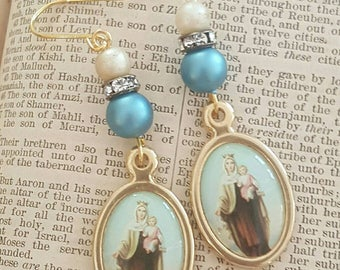 Bohemian Gypsy Holy Mother Mary and Child Spirituality Jewelry Dangle Earrings Upcycled Recycled
