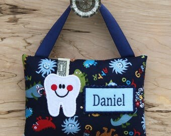 Tooth fairy pillow,Personalized tooth fairy pillow,Monsters tooth fairy pillow,Tooth fairy pillow,Boy tooth fairy pillow, SHIPS NEXT DAY