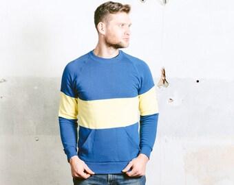 80s Mens Sweatshirt with Pockets . Vintage 90s Yellow Blue Soft Warm Winter Sports Sweater Sportswear Boyfriend Gift . size Medium