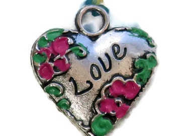 Vintage Love Charm Painted Heart Valentines Day enamel Flower Gilted Victorian. #1094J