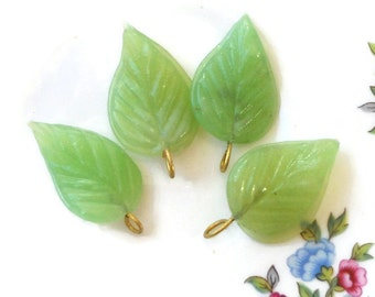 Vintage Leaf Drops,leaf charms,green leaf beads,Shabby chic,glass Leaves, Czech Pressed Mint Green NOS Mint Pendants Charms Pendant #704
