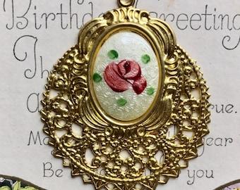 Vintage guilloche Pendant,Hand painted Rose Pendant,Rose Floral Pendant NOS, enameled Pendant,Shabby Chic Pendant #464