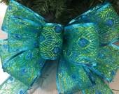 Peackok Bow Aqua Blue Christmas Tree Topper Wreath Wall Decor Mantel Christmas New Year Mantel Decor Wedding Read