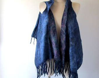 Blue Felted vest, Wool Reversible vest,  one of a kind vest , felted women vest , women wool vest felted scarf , blue felted vest