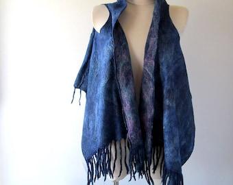Blue Felted vest, Wool Reversible vest,  one of a kind vest , felted women vest , women wool vest felted scarf , blue felted vest