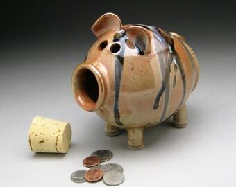 Piggy Bank with Splashy Glaze