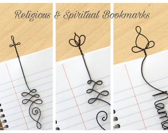 Personalized Religious Bookmark with Cross, Lotus Pose bookmark, Lotus Flower, spirituality gift, christian gift, Buddha, zen, meditation