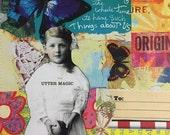 Mixed Media Original Art, Large Envelope, Original Artwork UTTER MAGIC, OOAK