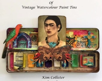 FRIDA KAHLO Collection of Vintage Watercolor Paint Tins, One of a Kind, HOPE No.11