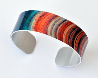 Saturn Rings (NASA) - Aluminum THIN Cuff Bracelet - Photography - Handmade - Unique Gift - Stackable Bracelet - Space Gift - Wearable Art!