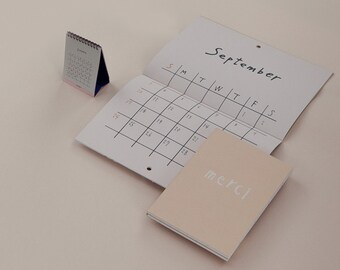 merci package--monthly planner with 2 calendars