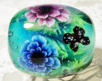 Pink & Blue Double Poppy Anemone Flower with Butterfly Satake Glass Lampwork Round Flower Bead sra