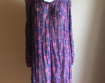 Oh Calcutta Rare 70s Indian Gauze Blue Tent Vintage Dress • Cotton Dress • Free Size Dress • Gauze Cotton Dress